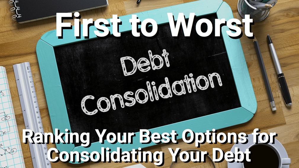 Debt consolidation on caulk board with coffee, glasses, and more