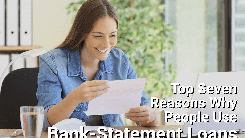 Woman looking at bank statement and smiling