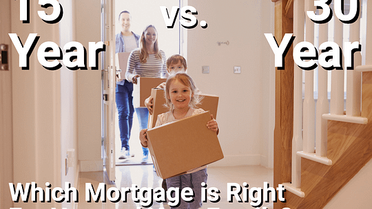 Family moving into house. Child with boxes.