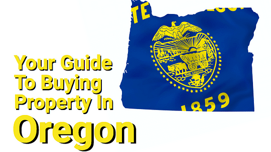 Oregon outline with flag and text