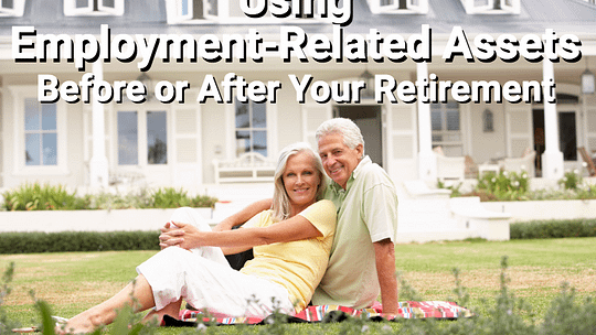 Happy retired couple on lawn in front of house.