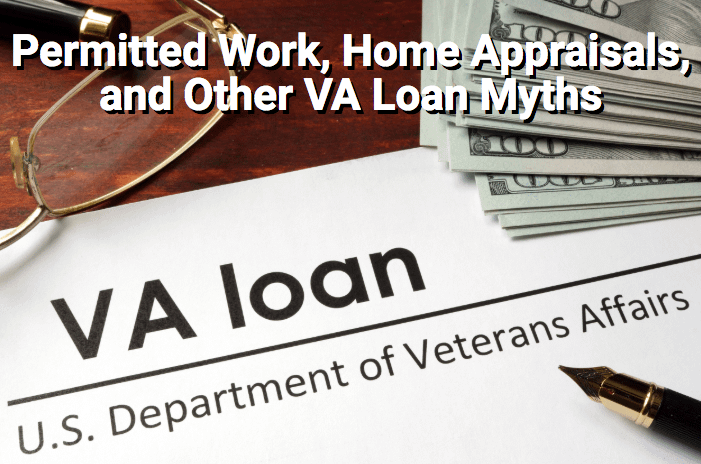 VA loan documents with cash and glasses