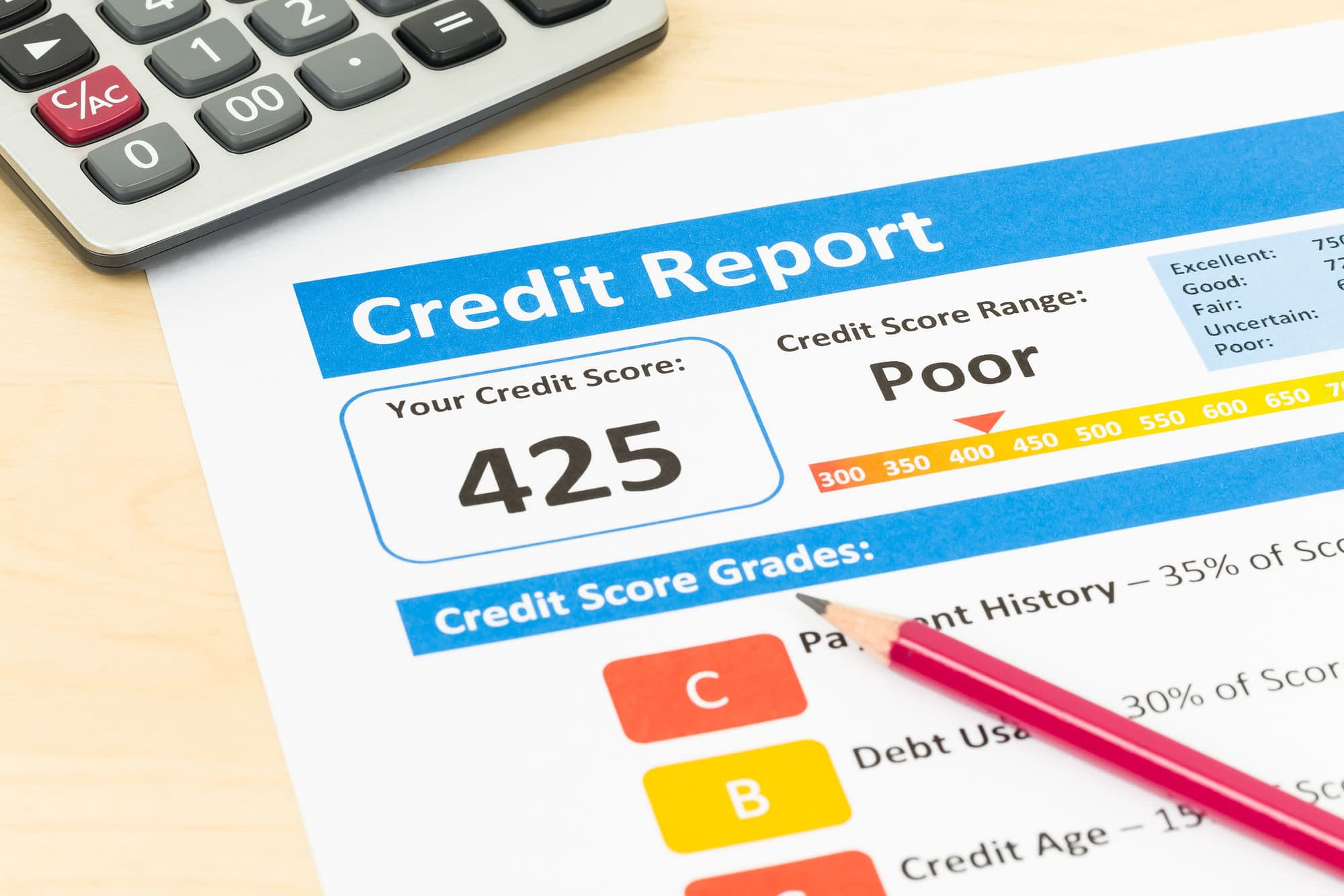 Poor credit score report with pen and calculator