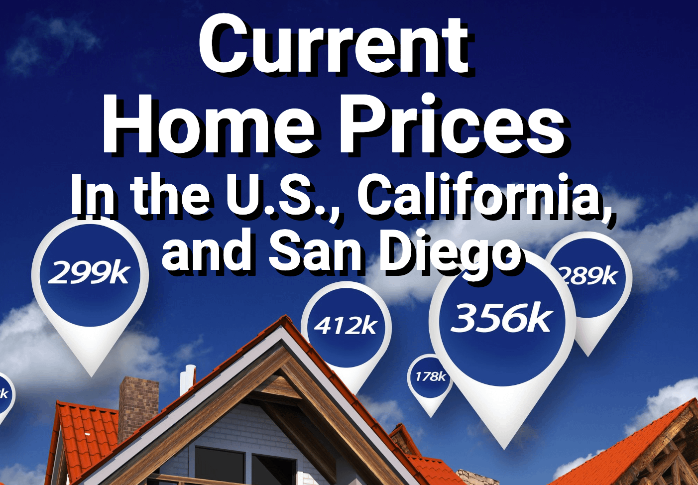 Price pricing concept. Prices above houses