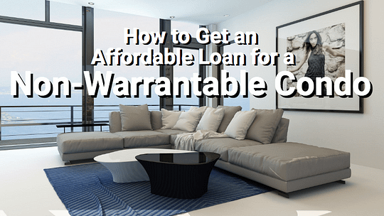 The interior of a non-warrantable condo with couch and rug