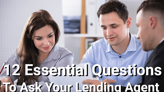 Couple talking with lending agent