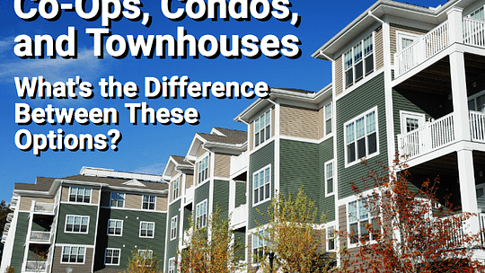 Condo building with overlay text