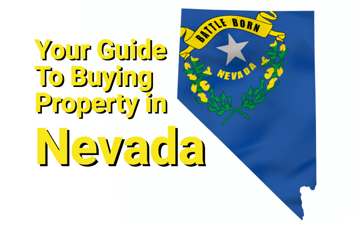 Nevada outline with flag and text