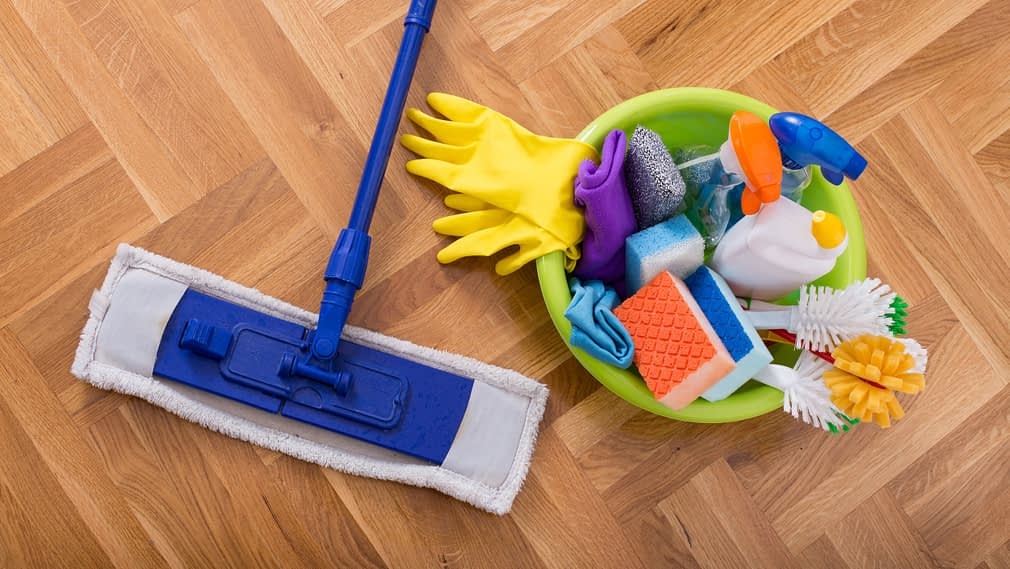 Cleaning supplies to help sanitize a home